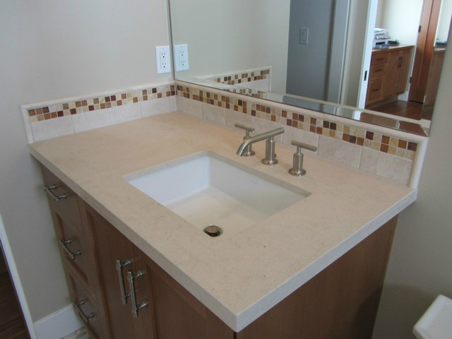 Bathroom shower ideas - Golden Beach Limestone Was The Choice For This Vanity The Limestone
